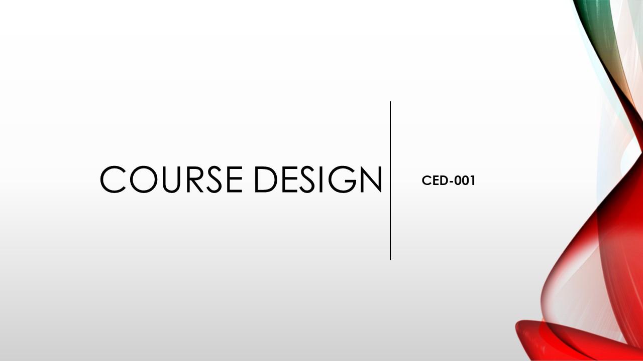 CED-001 Course Design